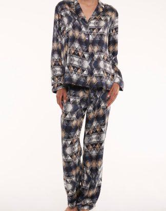 Sheer Prism Printed Silk Pyjama Set