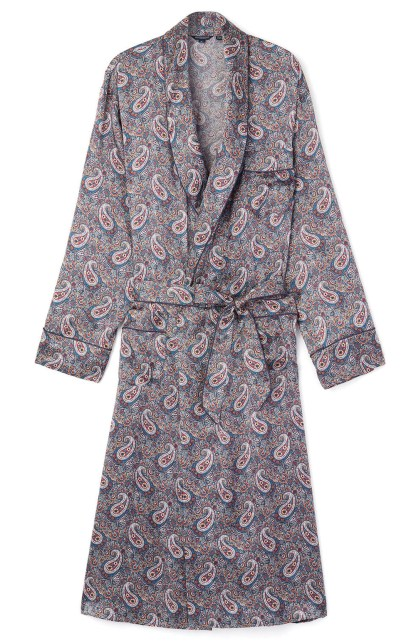 Mens Silk Dressing Gown - the Red Paisley