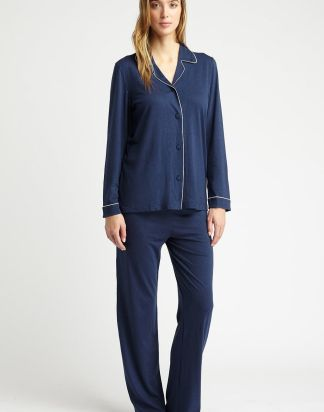 Midnight Navy Blue Jersey Pyjamas