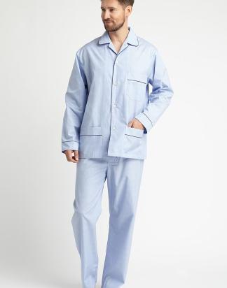 Classic Blue and White Fine Striped Cotton Pyjamas