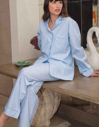 Classic Blue and White Fine Striped Cotton Pyjamas