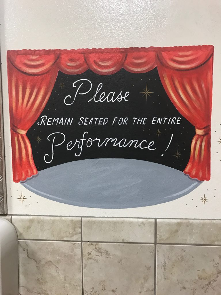 Bathroom performance sign