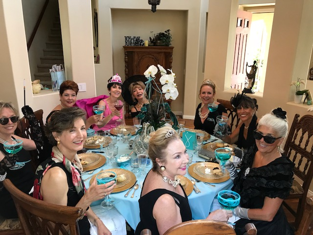 The whole gang toasting to Holly Golightly and Breakfast at Tiffanys!