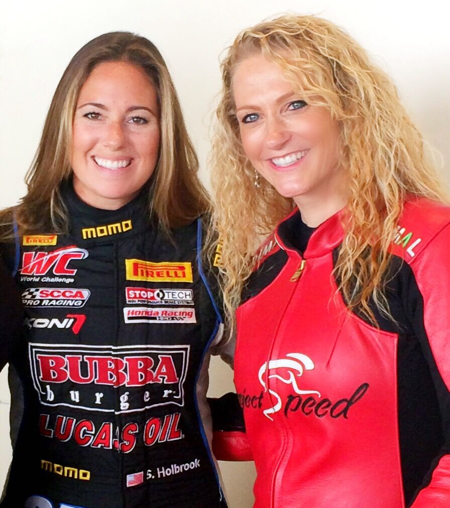 Shea Holbrook, who drove the race car, poses with Denise. Photo credit, Jinna Albright Photography