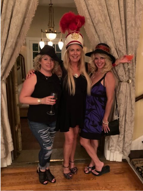 Melanie, Patti and Kelly wearing the crazy hats available in The Maxwell Mansion