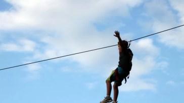 riding a zipline
