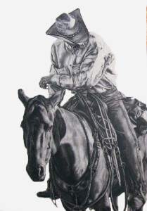 My sister took this picture of a cowboy at one of the Camp Cooley Ranch cattle sales. He is known for riding all day without a bridle. He always had nice horses and good dogs. he gave me several good pointers on one of my colts I was riding at a sale and made sure nobody rode anything of the top of her.