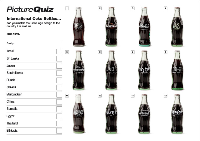 Quiz Number 032 with an International Coke Bottles Picture