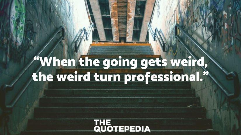 """When the going gets weird, the weird turn professional."""