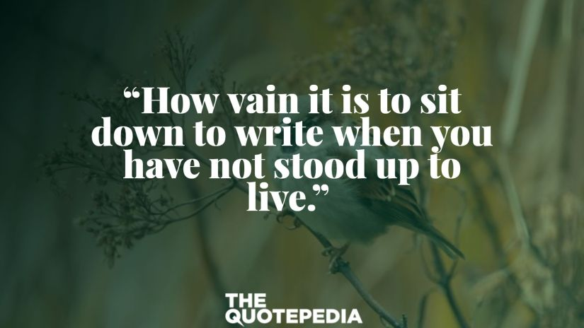 """How vain it is to sit down to write when you have not stood up to live."""