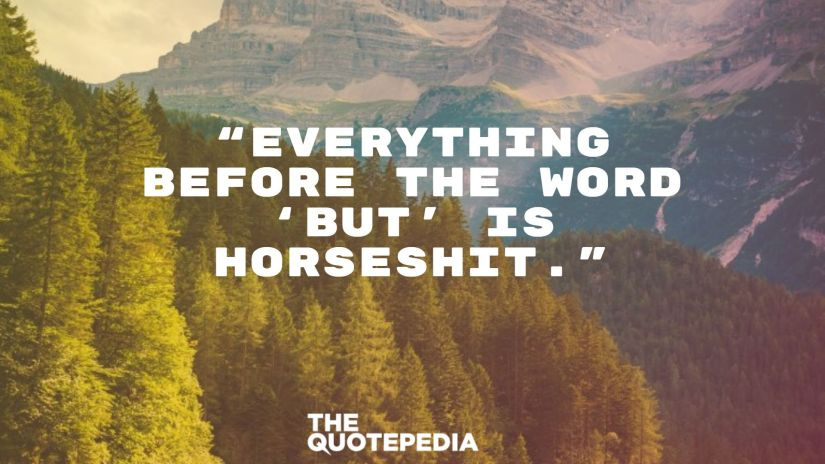 """Everything before the word 'but' is horseshit."""