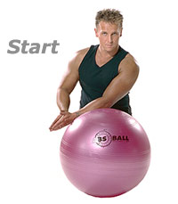 Kneeling Shoulder Stretch On Swiss Exercise Ball