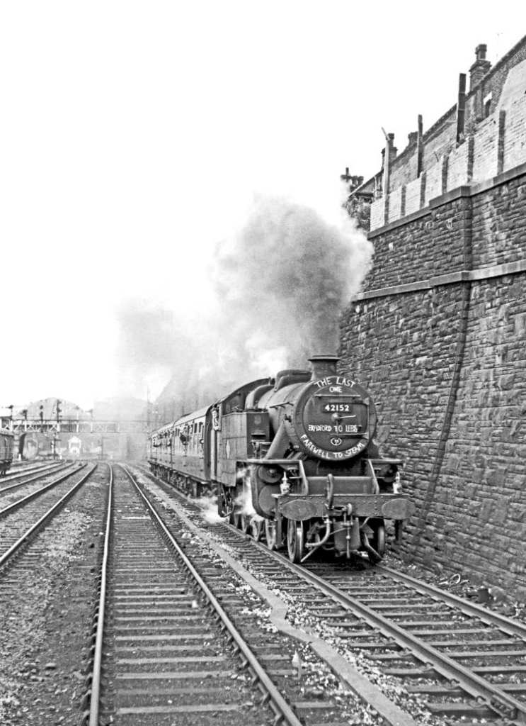 LMS Fairburn 4MT 2-6-4T No. 42152 climbs away from Bradford Exchange with the Eastern Region's last timetabled steam passenger train; the 4.18pm to Leeds on October 1, 1967. EDDIE BOBROWSKI