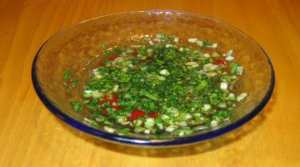 Fish Sauce ingredients chopped and mixed gfzing