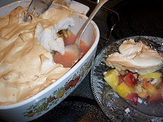 Summer fruit marmalade meringue, a Swiss specialty. Recipe by Jonell Galloway, Spontaneous Cuisine. The Rambling Epicure. Editor, Jonell Galloway.