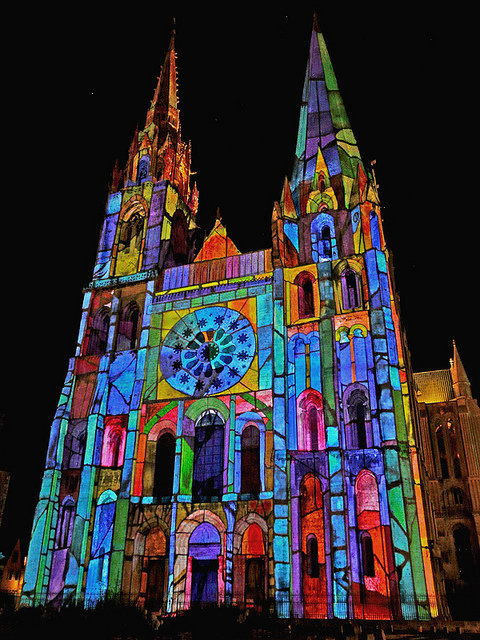 Chartres Cathedral Lighted, creative common license, photographer unknown