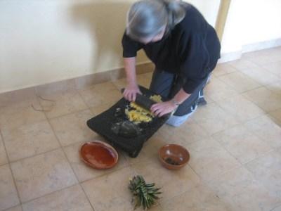 Rachel grinding pineapple