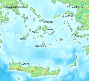 A German map of the Cyclades and Crete, with Thera (here called Santorini) dead center. Wikimedia Commons