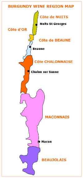 Burgundy Wine Region Map