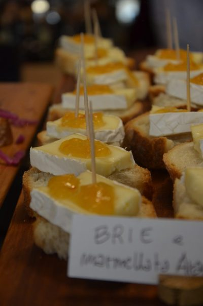 Cicchetti in Venice. Venetian food. Brie and orange marmalade.