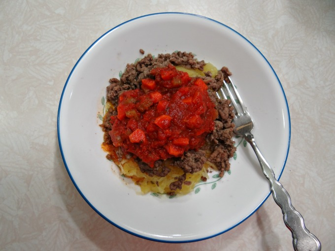 Dinner! Spaghetti Squash, Ground Hamburger, and Tomato Sauce.