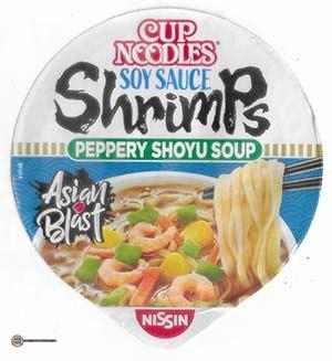#3820: Nissin Cup Noodles Soy Sauce Shrimps Pepper Shoyu Soup - Germany