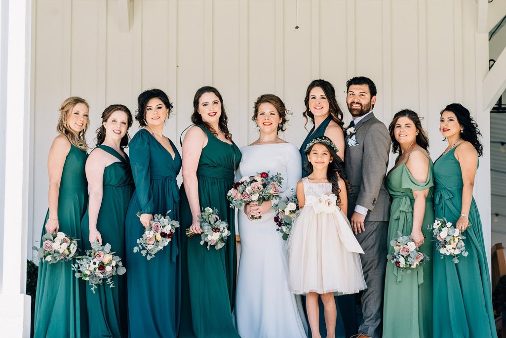 bridal party before wedding