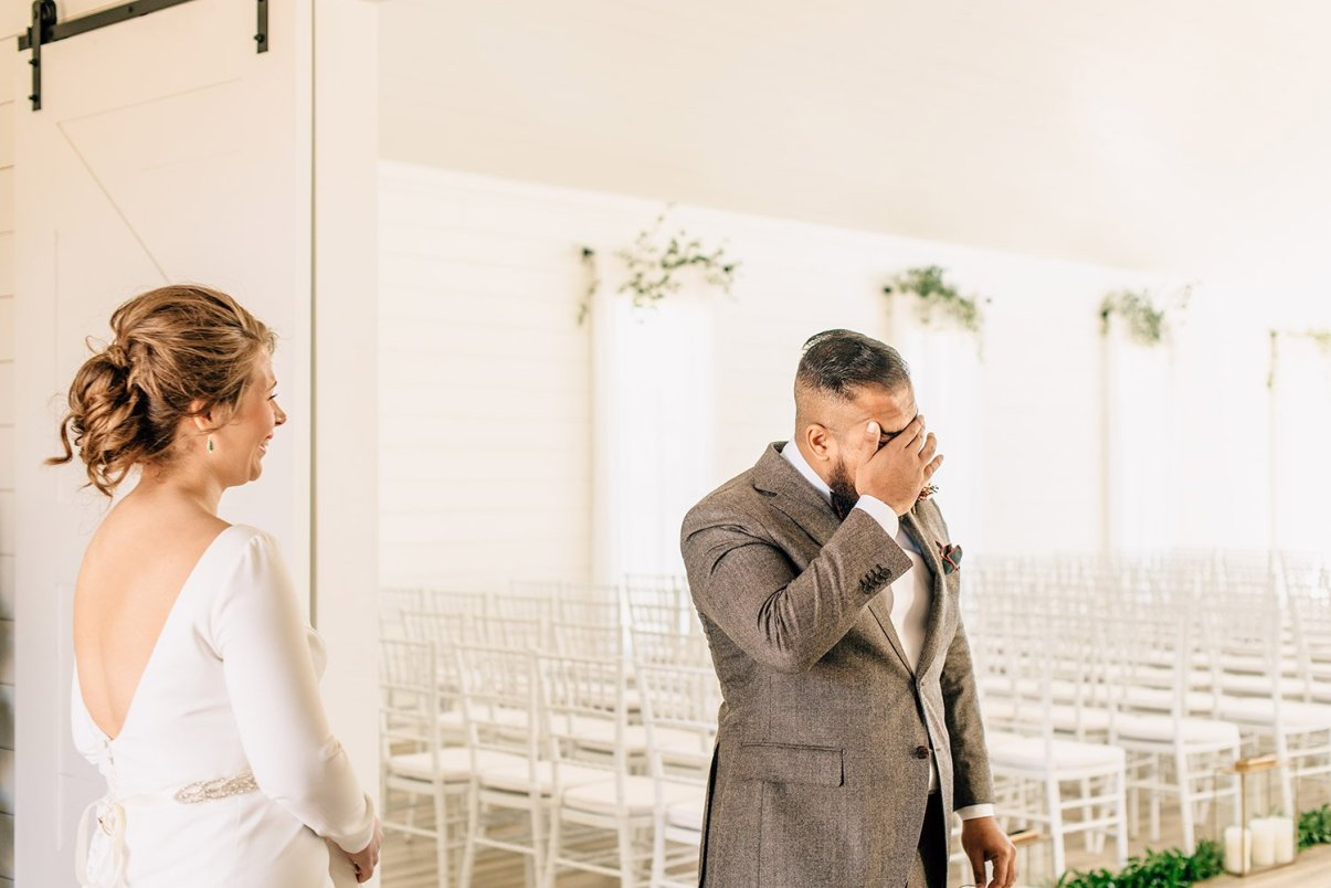 groom reacting to first look