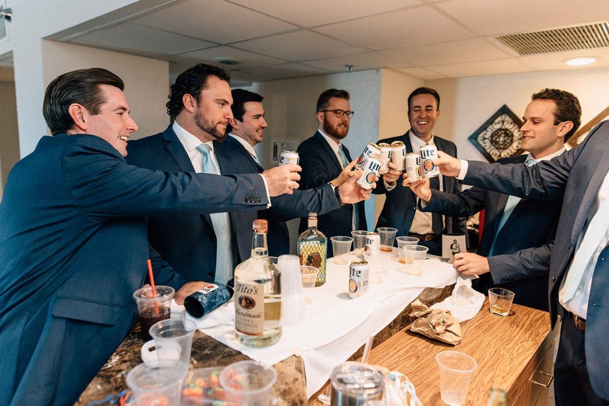 groomsmen drink miller lite