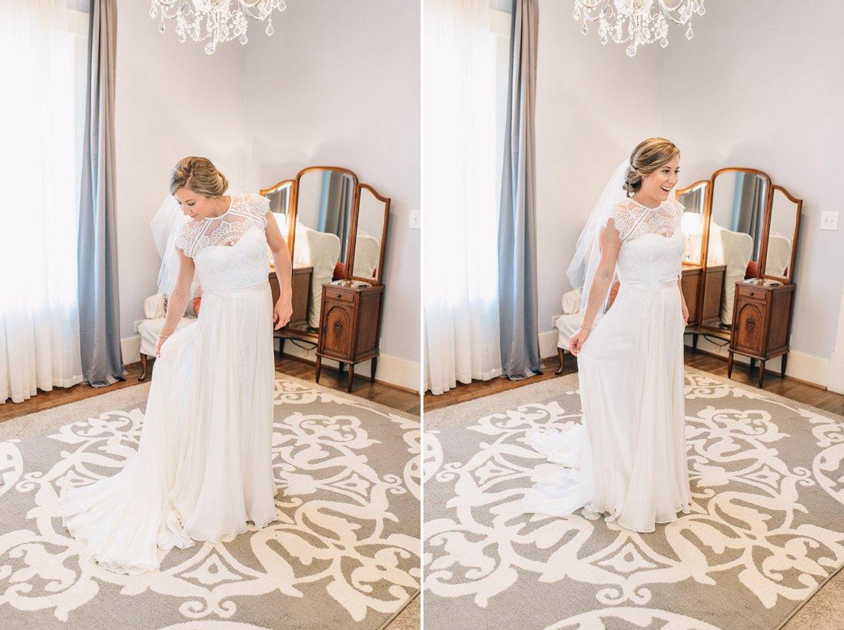 beautiful bride in BHLDN dress