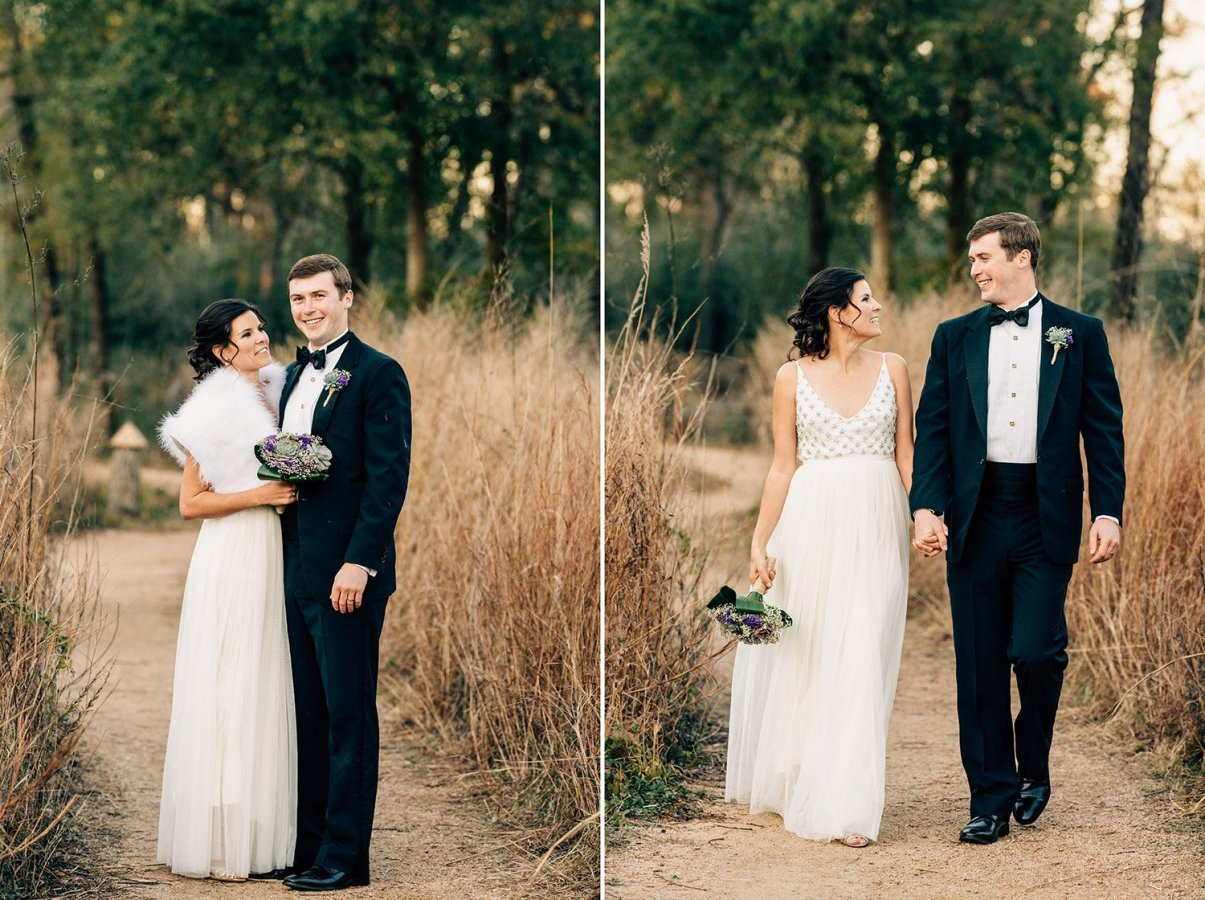 bride and groom on trails