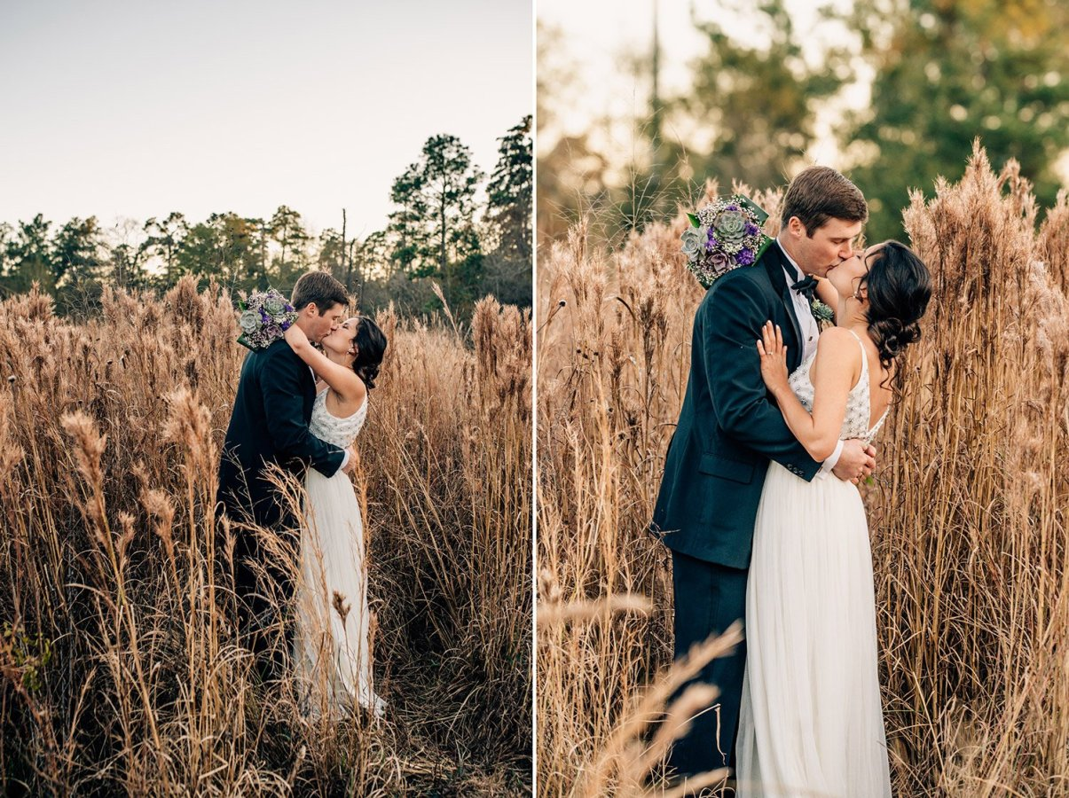bride and groom kissing in tall grass