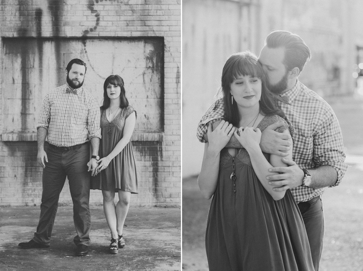 black and white engagement picture