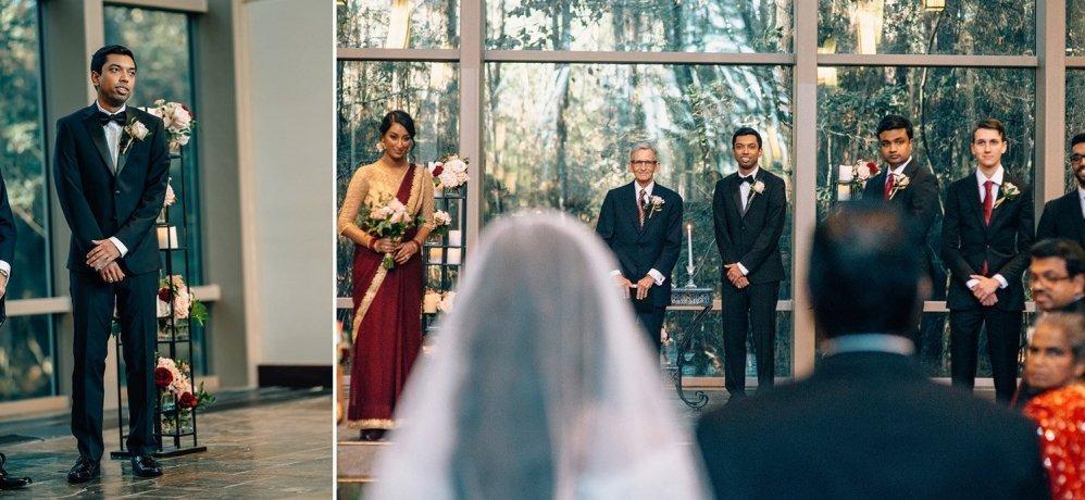 groom seeing bride at chapel in the woods