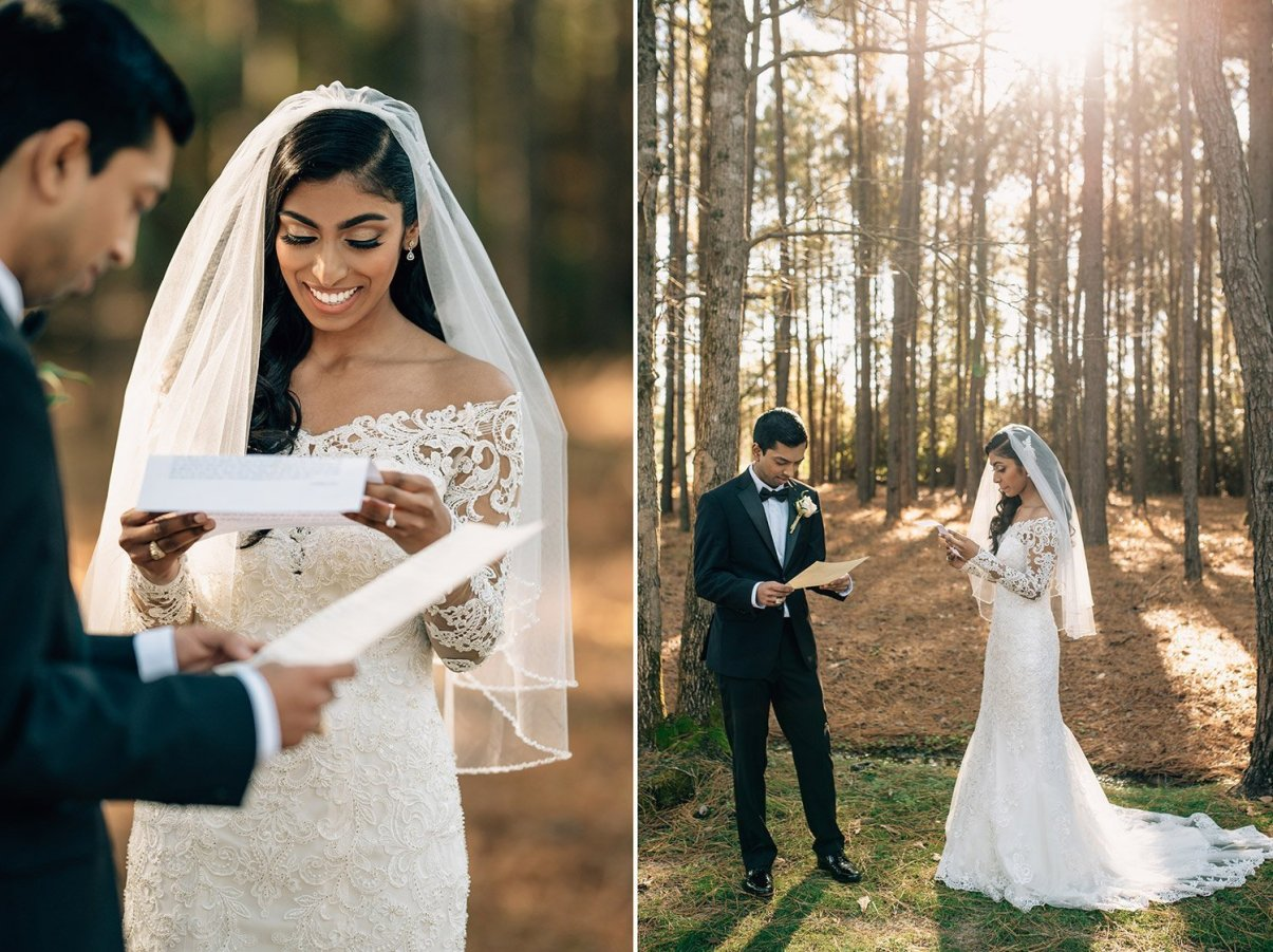bride and groom read letters to each other during first look