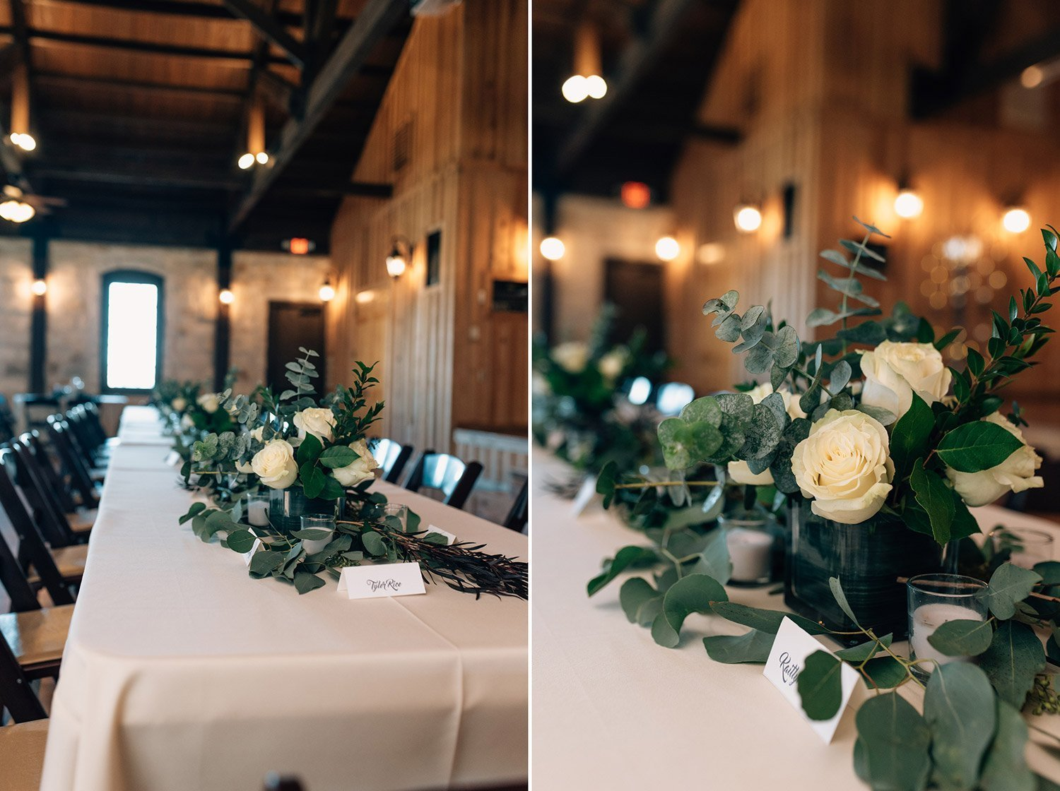 dark green foliage on white table cloths for wedding at the springs event center