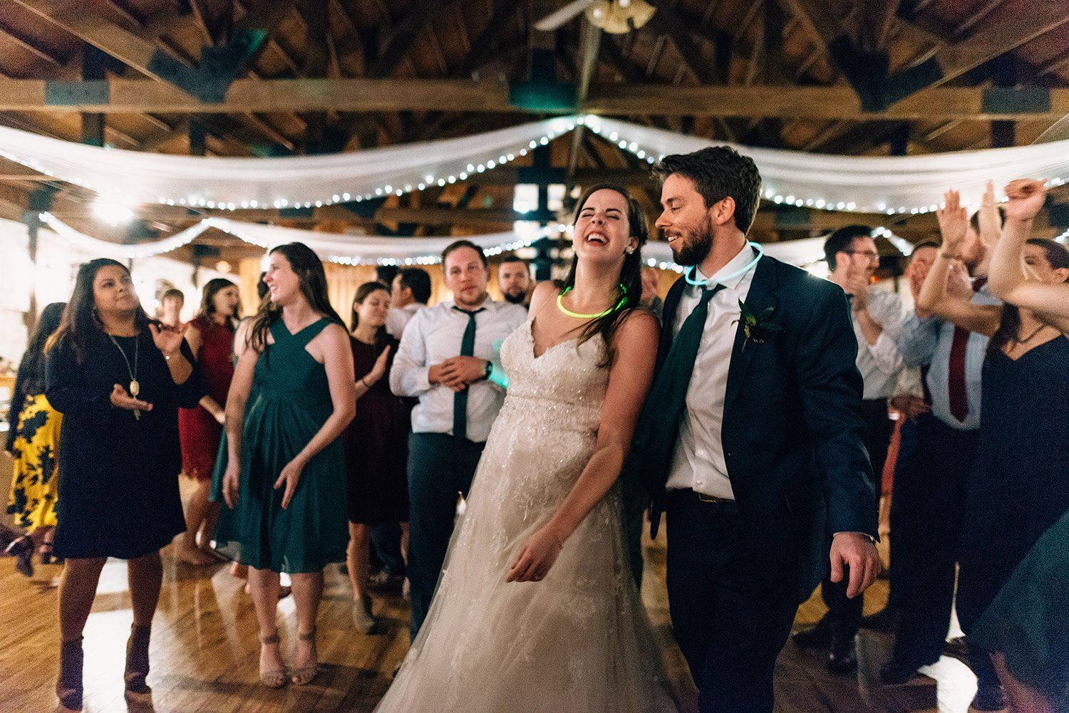 bride and groom dancing during reception