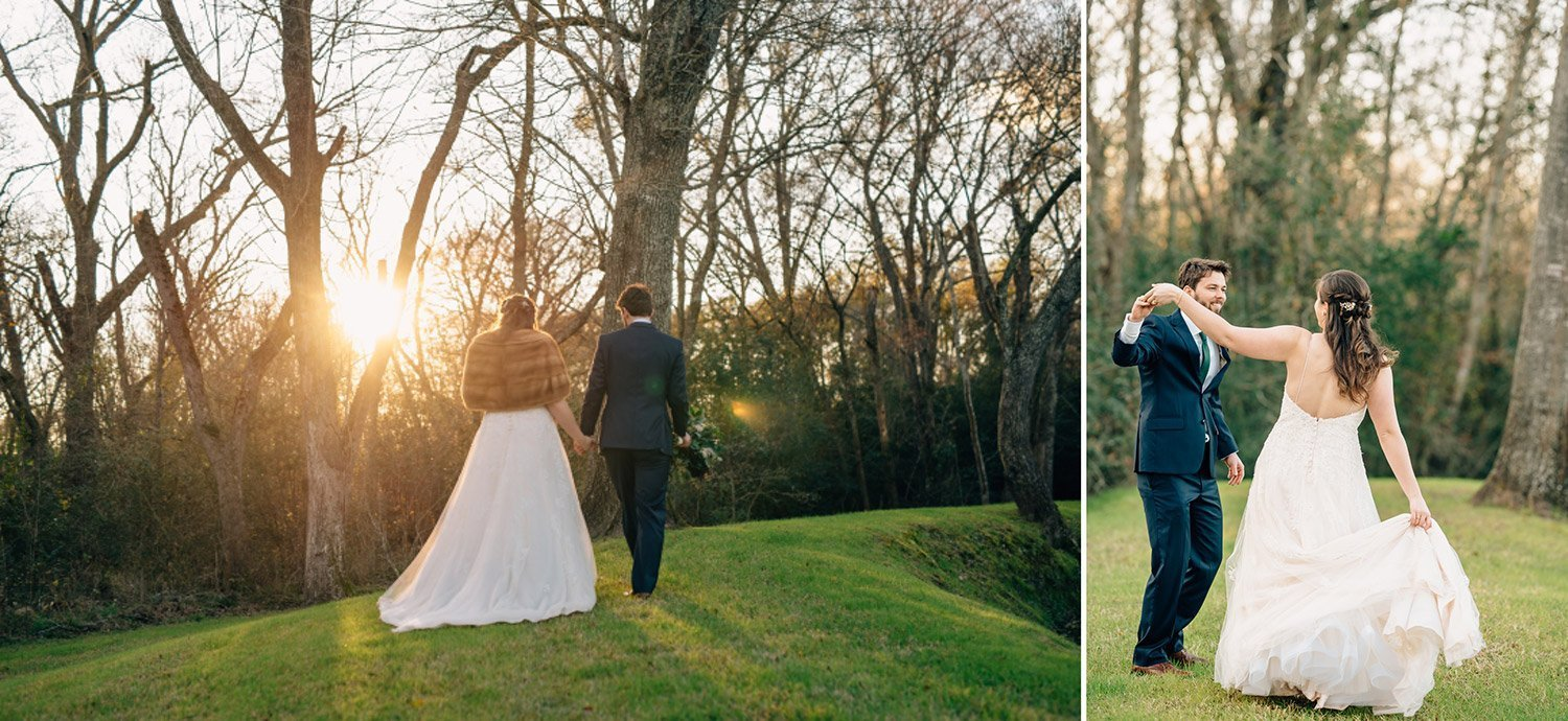 bride and groom dancing outdoors after their sweet wedding bath the springs event center