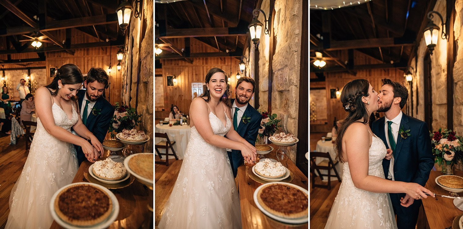 bride and groom cut the pie at their wedding