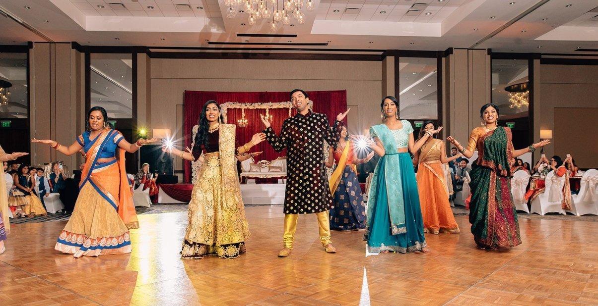 choreographed dance at Indian wedding