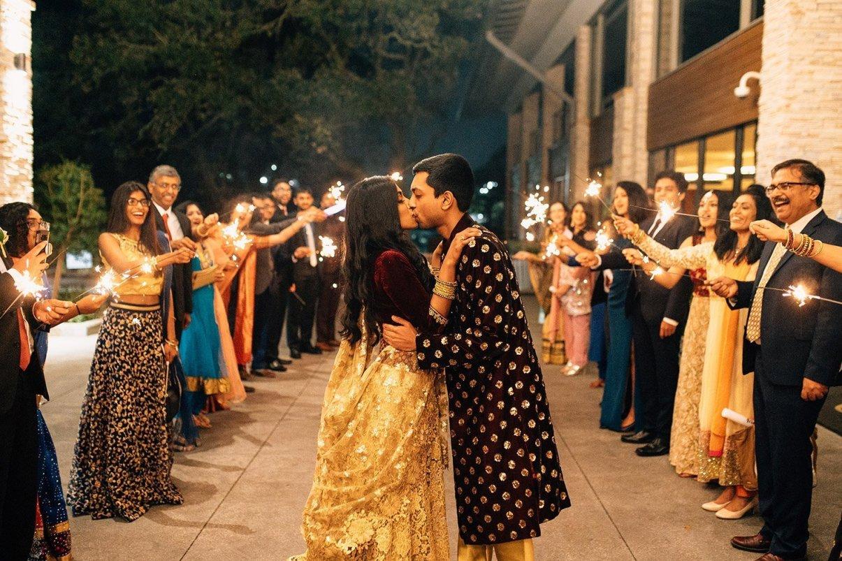 sparkler exit from wedding reception at woodlands resort
