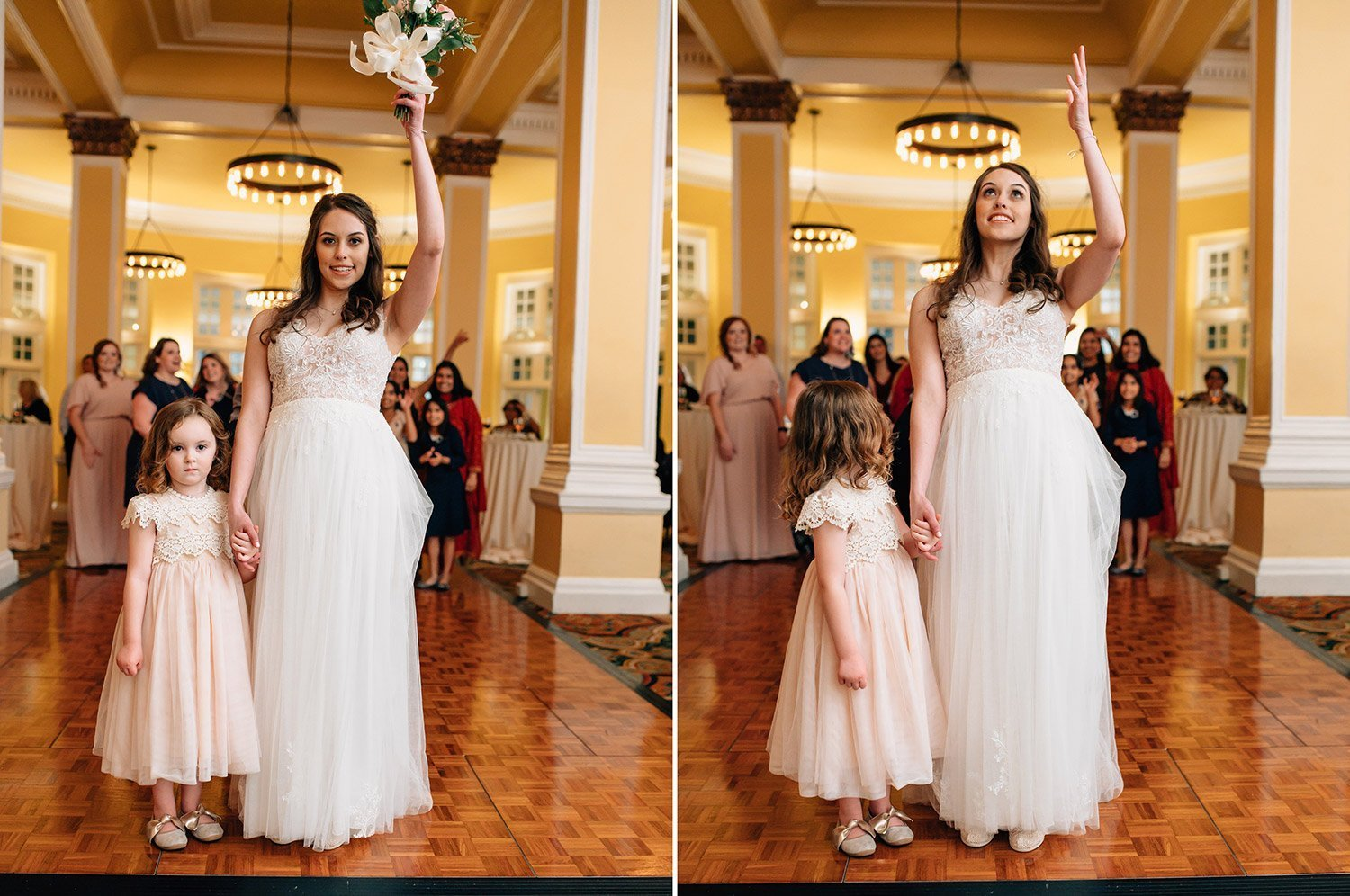 flower girl helps bride with bouquet toss