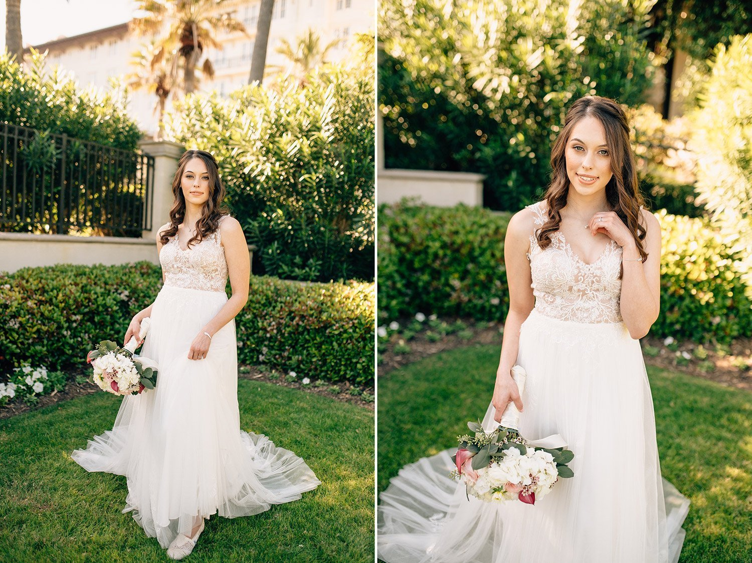 beautiful bridal portraits in front of Hotel Galvez