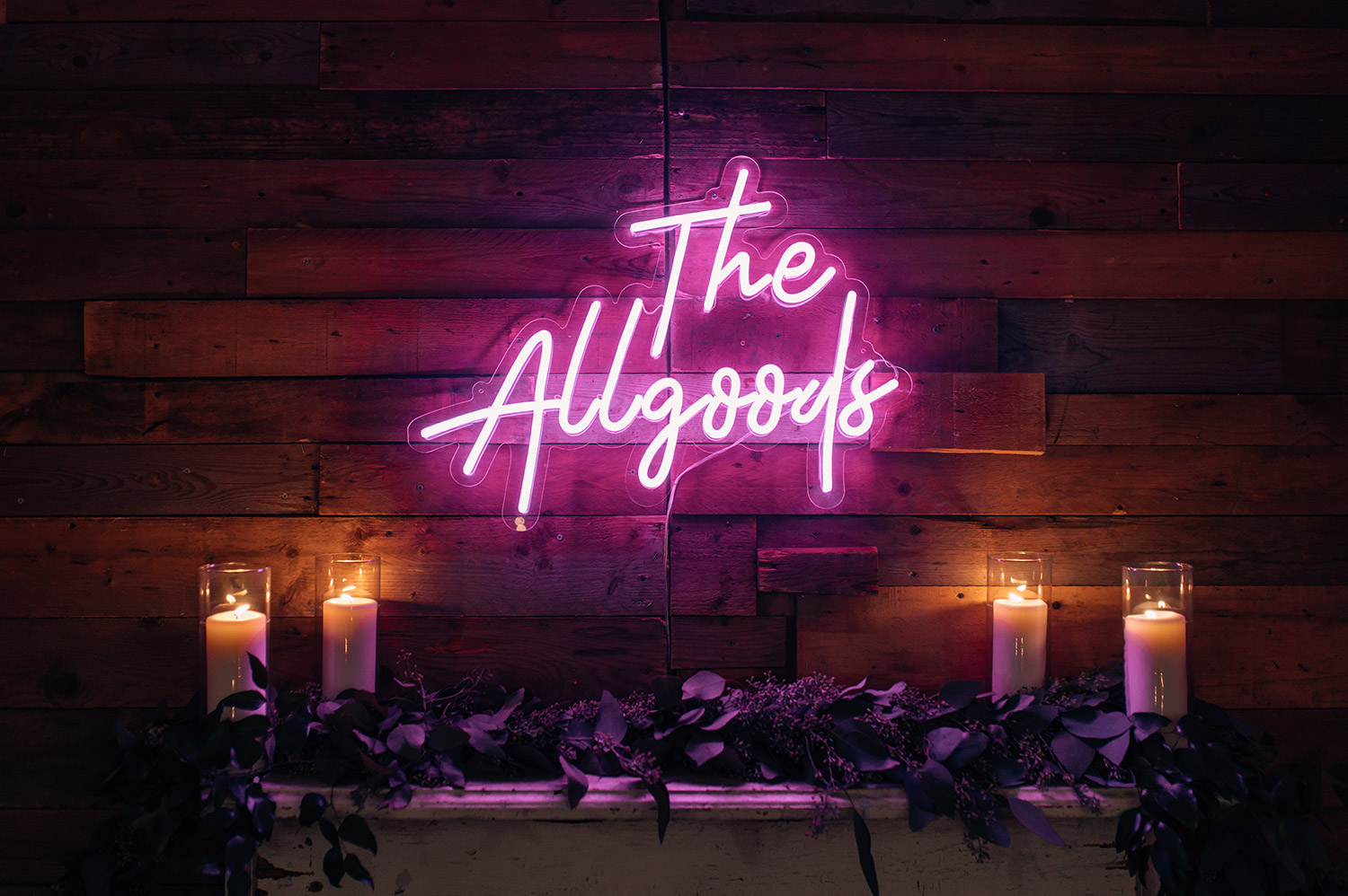 neon sign at wedding reception