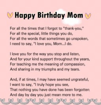Happy Birthday Mom Poem from Son Images
