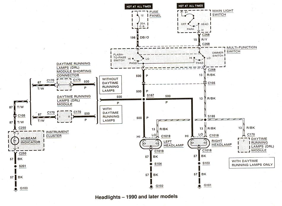Diagram_Headlights_1990andlater?resized665%2C486 1990 ford ranger ignition wiring diagram efcaviation com 1991 ford ranger ignition wiring diagram at bakdesigns.co