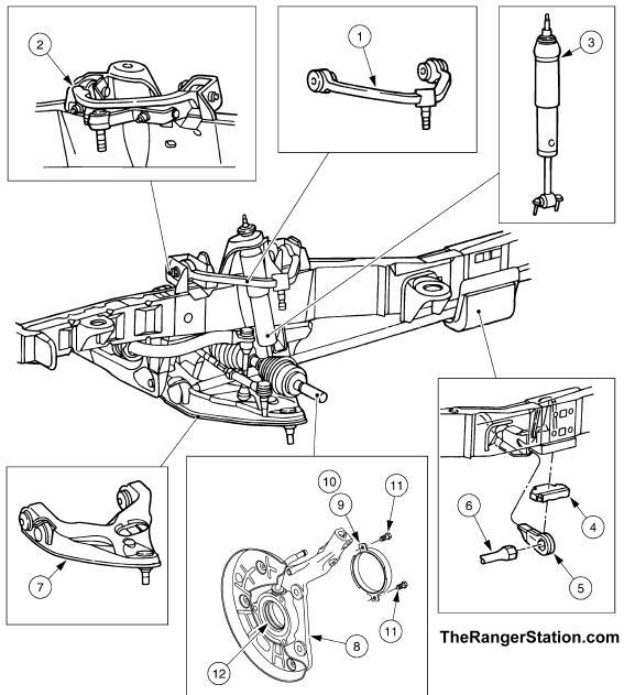 1996 ford ranger front suspension diagram 2002 pontiac radio wiring the it connects to frame rail behind cab mount see section below on how torsion bar suspensions work 2008 2011