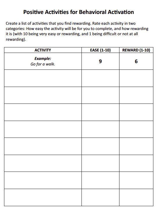 Positive Activities for Behavioral Activation (Worksheet