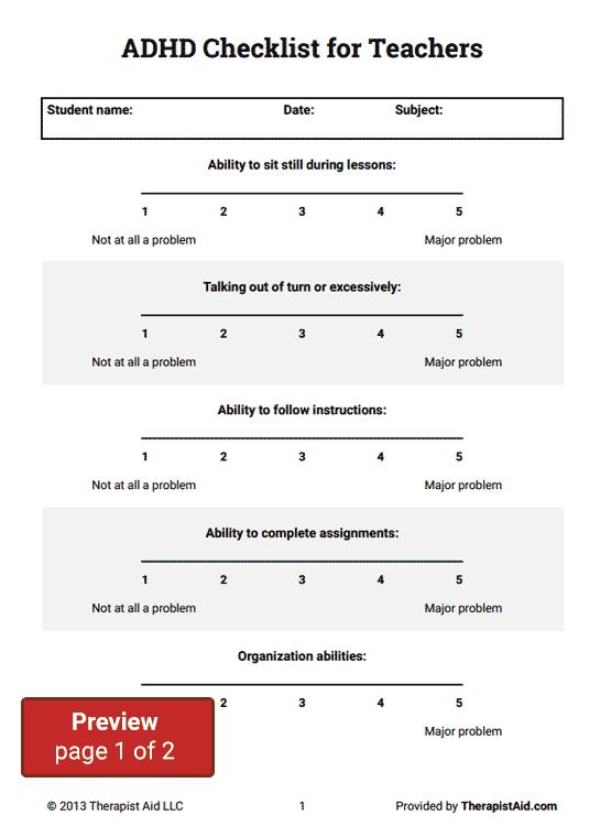 ADHD Checklist for Teachers (Worksheet) | Therapist Aid