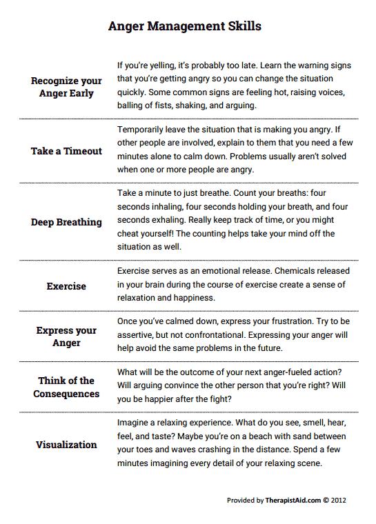 Printables. Anger Management Worksheets For Teens